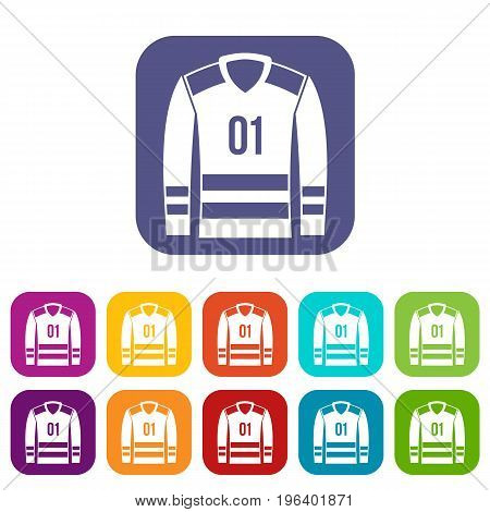 Sport uniform icons set vector illustration in flat style in colors red, blue, green, and other