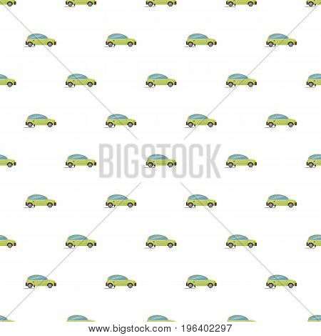 Green electric car pattern seamless repeat in cartoon style vector illustration