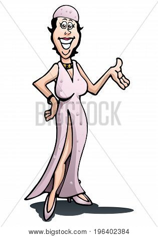 illustration of a dazzling dancer on isolated white background
