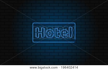 Neon Sign Hotel On Brick Wall Background. Vintage Electric Signboard With Bright Neon Lights. Blue L