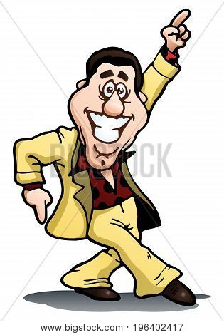 illustration of a energetic dancing businessman on isolated white background