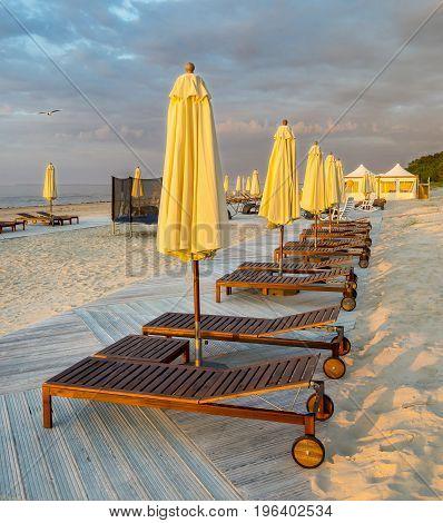 Sunrise at a public domain beach  Latvia, Europe