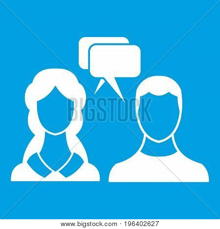 Speech bubbles with two faces in simple style isolated on white background vector illustration