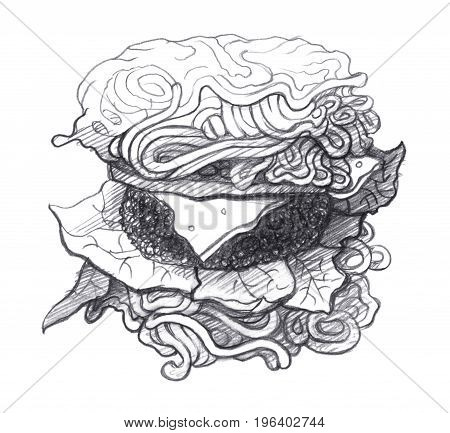 Ramen burger with herbs and cheese. Graphic linear tonal drawing by slate pencil. Isolated on white background
