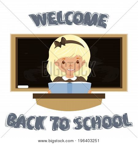 Girl sitting at the Desk . Welcome to the school. The return to school. Stock vector.