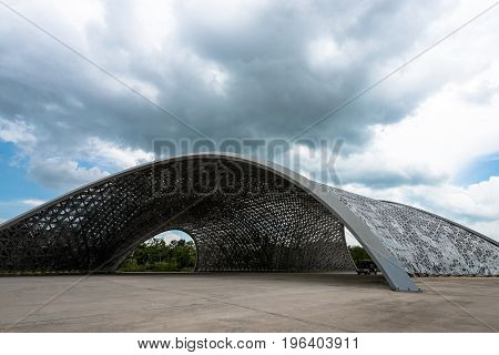 SINGAPORE - MARCH 22 2017: Futuristic architecture art in a cloudy day at Gardens by the Bay Park in Singapore
