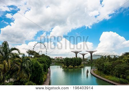 SINGAPORE - MARCH 22 2017: Wide angle with of Gardens by the Bay Park with nature and modern architecture