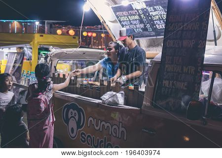 BALI, INDONESIA - JULY 8, 2017: Indonesian street food cafe, fast food on festival on Bali.