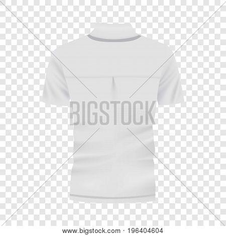 Back of white polo shirt mockup. Realistic illustration of back of white polo shirt vector mockup for web