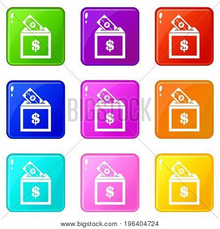 Donation box icons of 9 color set isolated vector illustration