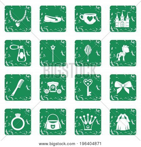 Doll princess items icons set in grunge style green isolated vector illustration