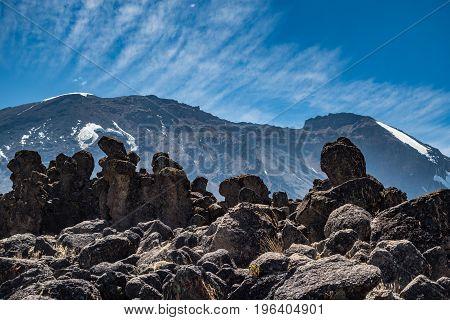 Kilimanjaro view from Machame route trail Tanzania