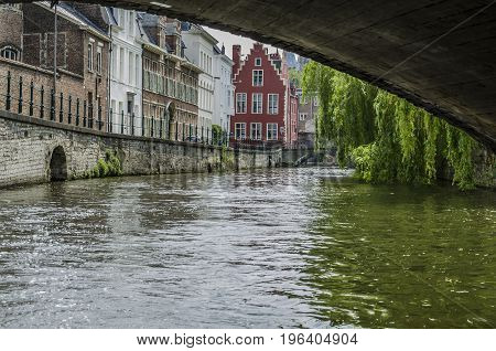 Crossing one of the bridges of the canals of Ghent