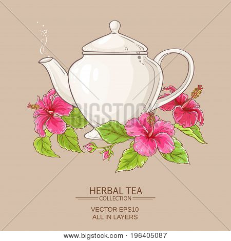 hibiscus tea in teapot on color background