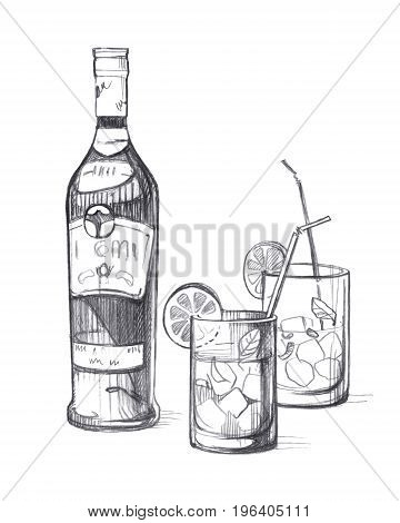Bottle with alcoholic beverage and Two glass glasses with ice lemon mint leaves and cocktail tubes. Graphic linear tonal drawing by slate pencil. Isolated on white background