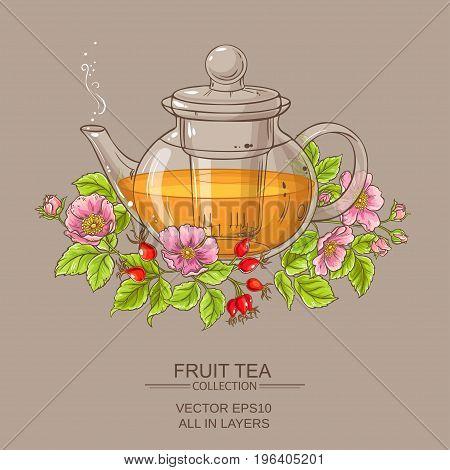 dog rose tea in teapot on color background