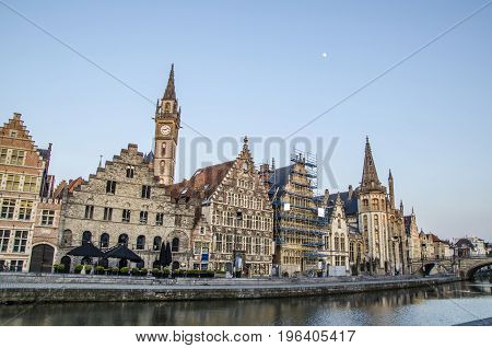Ancient buildings in the main channel of Ghent
