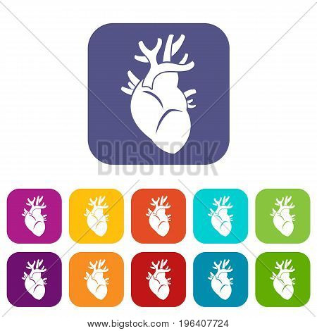 Heart icons set vector illustration in flat style in colors red, blue, green, and other