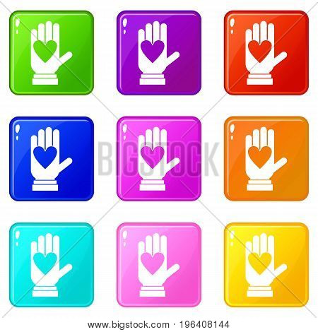 Hand with heart icons of 9 color set isolated vector illustration