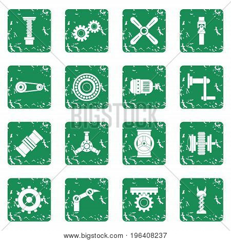 Techno mechanisms kit icons set in grunge style green isolated vector illustration