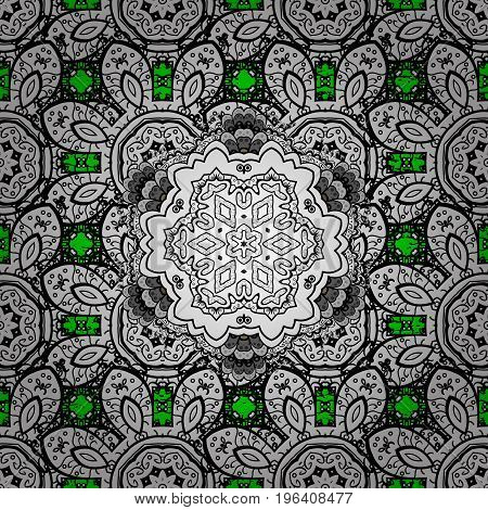 Vector white floral ornament brocade textile pattern. Green background with elements. Floral pattern. White pattern.