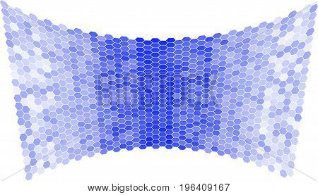 Abstract blue background of hexagons in the form of a concave surface. Screen.