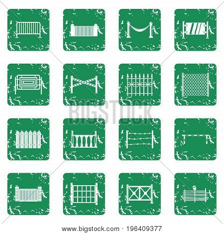 Fencing icons set in grunge style green isolated vector illustration