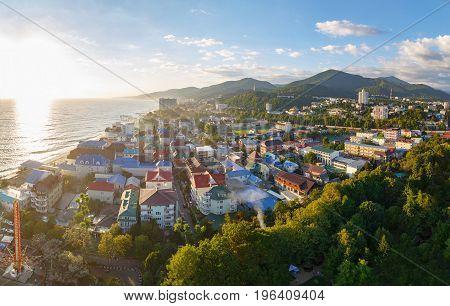 LAZAREVSKOE SOCHI KRASNODAR REGION JULY 5 2017: Panoramic view of Lazarevskoe city Sochi at sunset in summer