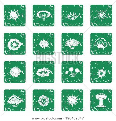Explosion icons set in grunge style green isolated vector illustration