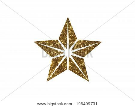 Vector Golden Glitter Review Star Icon On White Background