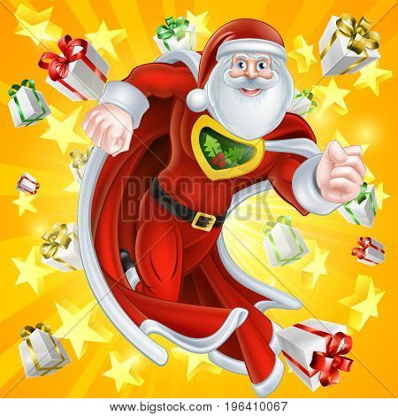 Caped cartoon Santa Claus Christmas superhero character with gifts and stars explosion in the background