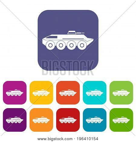 Armored personnel carrier icons set vector illustration in flat style in colors red, blue, green, and other
