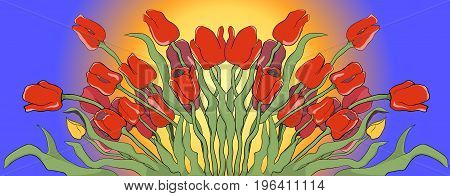 Illustration of a blooming red and yellow tulips against the background of a sunny sky