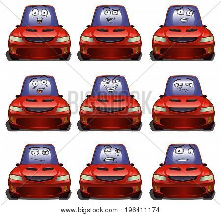 illustration of a screen expresion on luxury red car on isolated white background