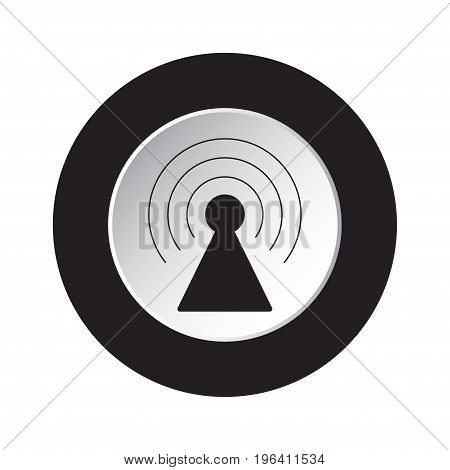 round isolated black and white button with black transmitter tower icon