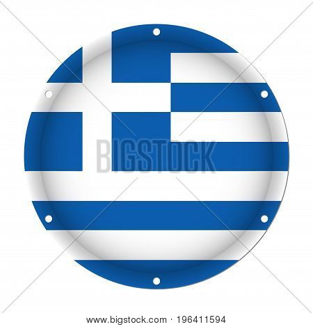 round metallic flag of Greece with six screw holes in front of a white background