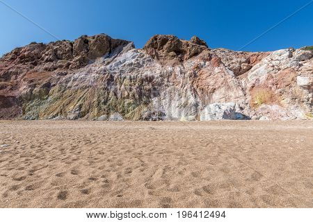 Colourful Volcanic Rock Formations In Paliochori Beach Of Milos, Greece