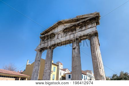 Athens, Greece - March 4, 2017:  Ruins Of The Gate Of Athena Archegetis