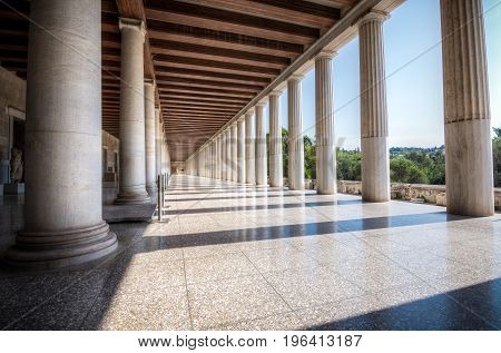 Columns At The Stoa Of Attalos In The Ancient Agora (forum) Of Athens