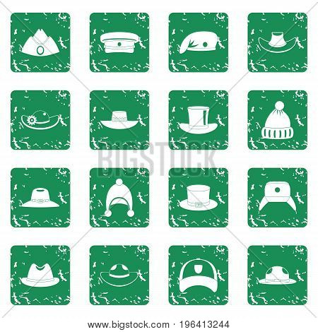 Headdress hat icons set in grunge style green isolated vector illustration