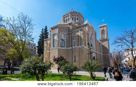 Athens, Greece - March 4, 2017: East Facade Of The Metropolitan Cathedral In Athens On A Sunny Day.