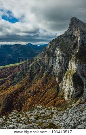 Mountain range at the top of Fuente De, Spain