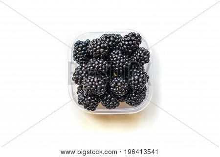 Ripe Blackberry In Bowl Isolated On White.