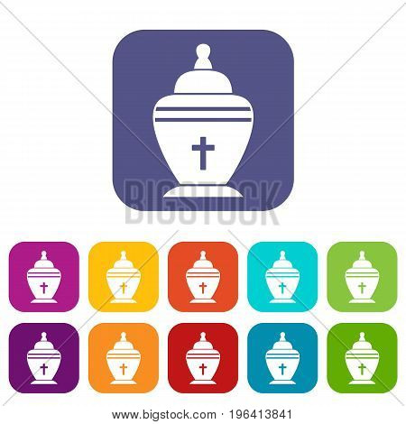 Urn icons set vector illustration in flat style in colors red, blue, green, and other