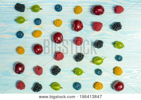 Collage Of Different Fruits And Berries Isolated On White.