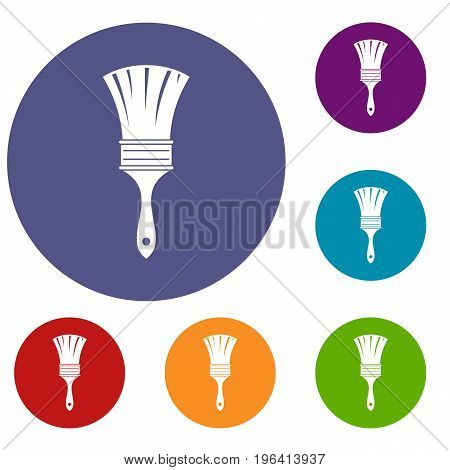 Brush icons set in flat circle red, blue and green color for web