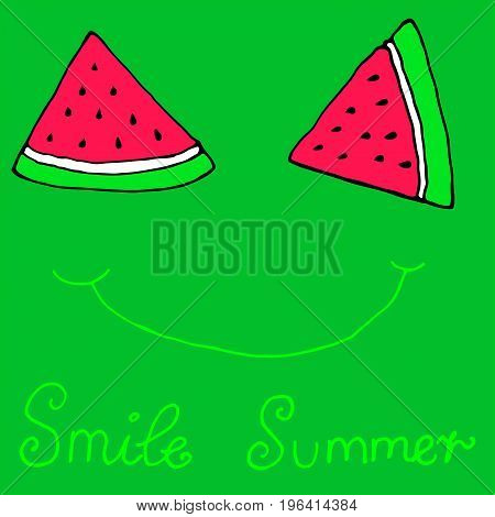 Cute sliced slices watermelon smilewinking isolated green background.Smiling summer hand drawn illustration.Vector art for adults and children.Coloring book page textiles printingposterdesign