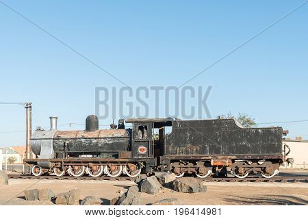 An historic class 7A no.1011 steam locomotive at the railway station in Keetmanshoop the capital town of the Karas Region of Namibia