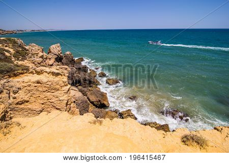 Sao Rafael Beach In Albufeira A Popular Travel And Vacations Destination Algarve . Summer Vocation C