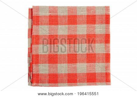 Red checkered textile napkin isolated on white background